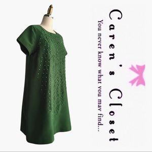 Karta Green Beaded Shift Mini Dress